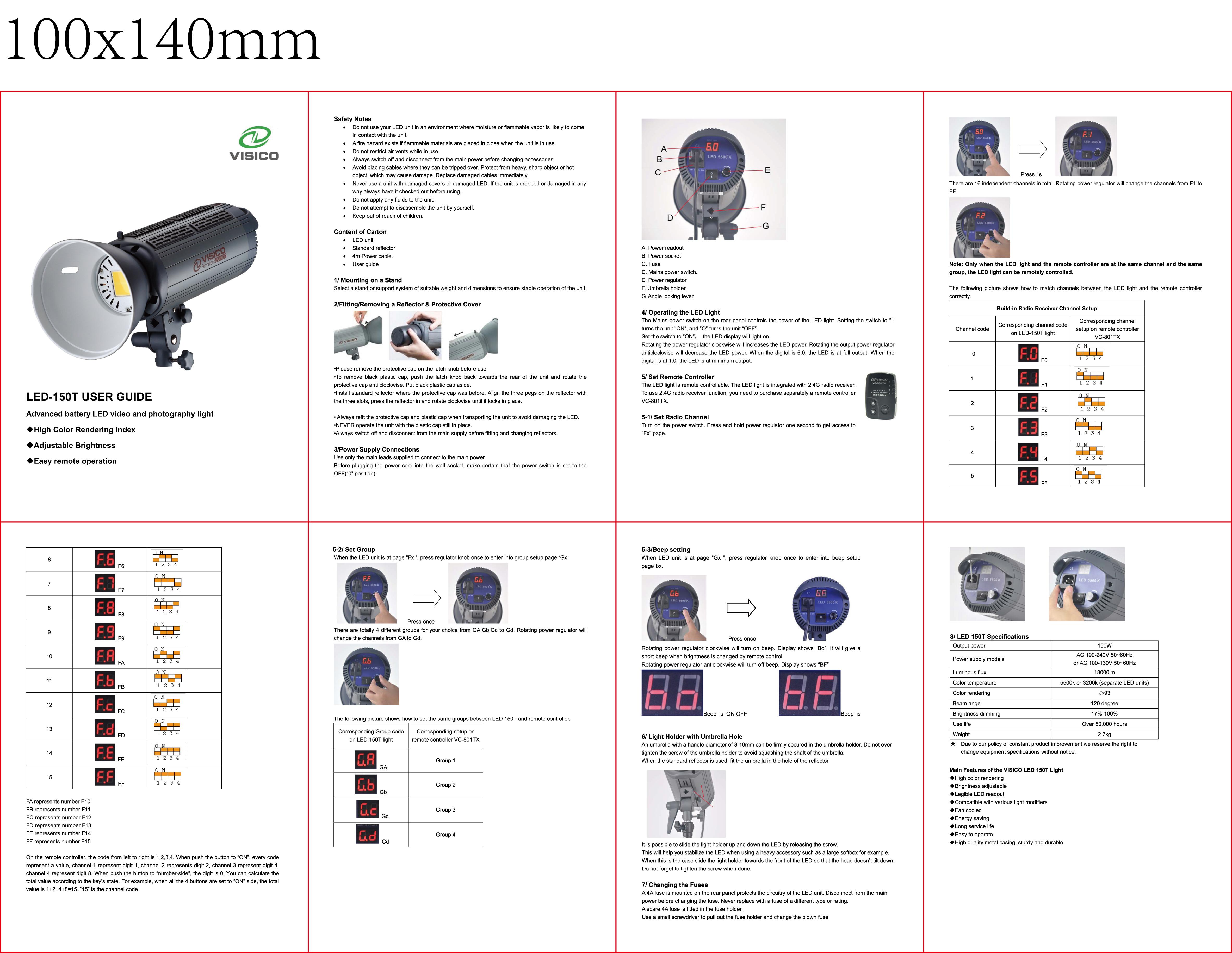 LED 150T user manual